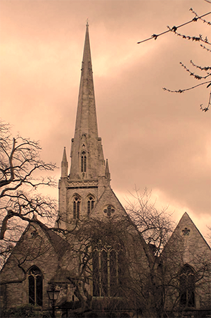 Picture of the Christ Church Hampstead spire - sepia